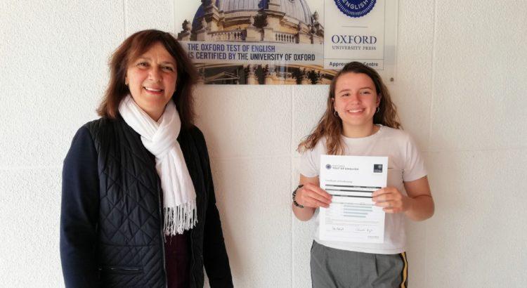 Áurea Oliver consigue el certificado B2 del Oxford Test of English con tan sólo 15 años