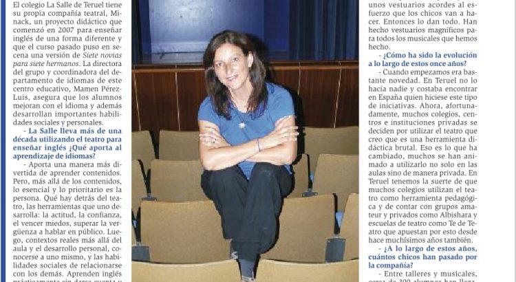 Mamen Pérez habla sobre Minack en Diario de Teruel